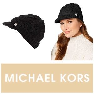 Michael Kors Cable Knit Peak Hat w/Knit Brim Black